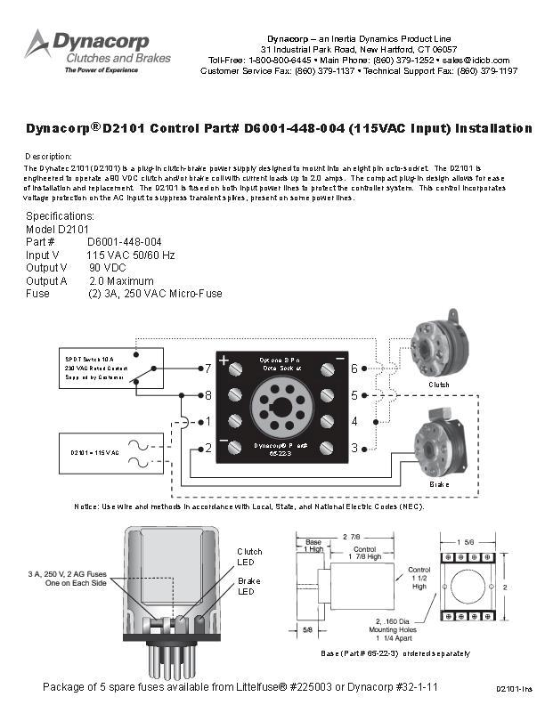 Dynacorp D2101 Control Installation