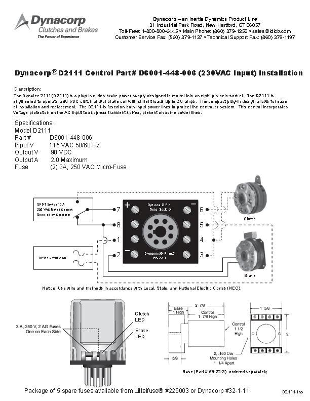 Dynacorp D2111 Control Installation
