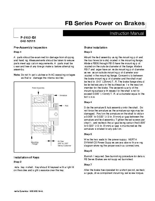 FB Series Power On Brakes Instruction Manual