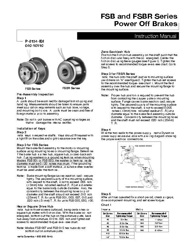 FSB and FSBR Series Power Off Brakes, Instruction Manual, 040-10110