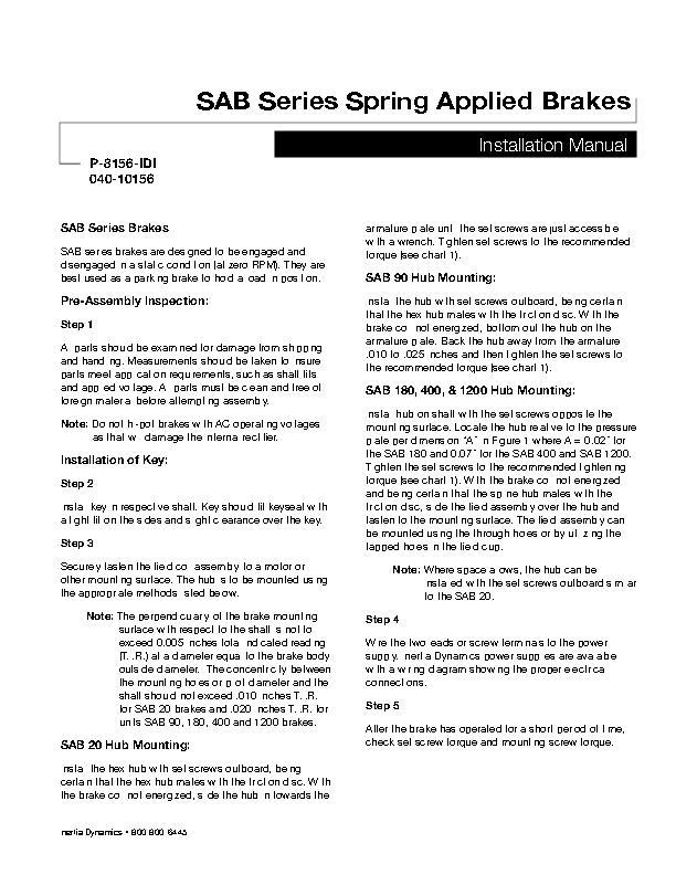 SAB Series Spring Applied Brakes Installation Manual 040-10156