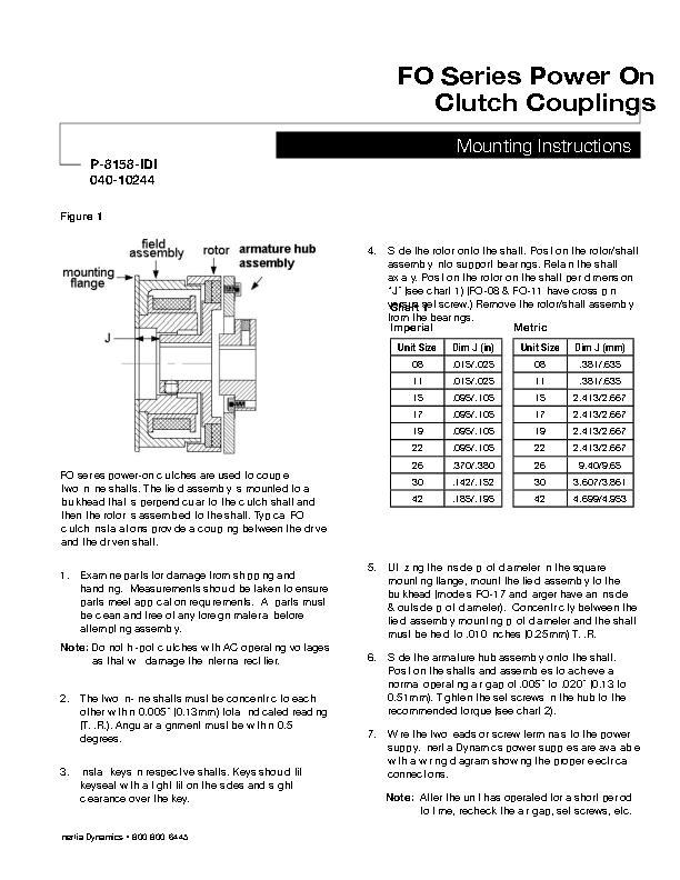 FO Series Power On Clutch Couplings Mounting Instructions 040-10244