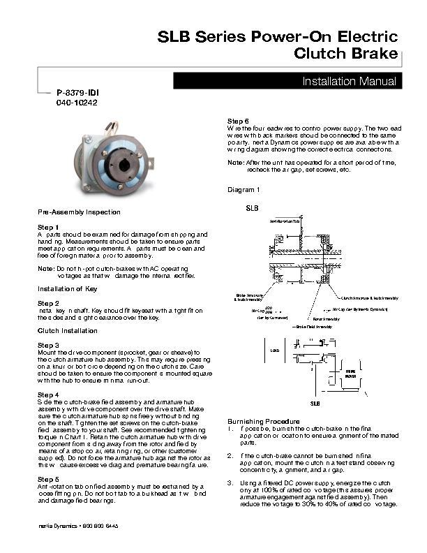 SLB Series Power-On Electric Clutch Brake Installation Manual 040-10242
