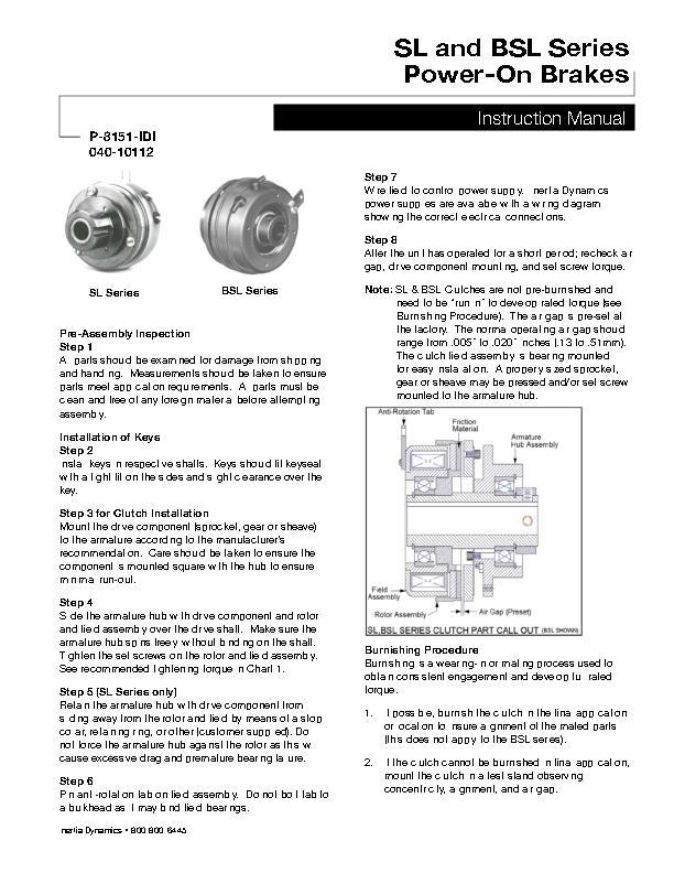 SL and BSL Series Power-On Brakes Instruction Manual